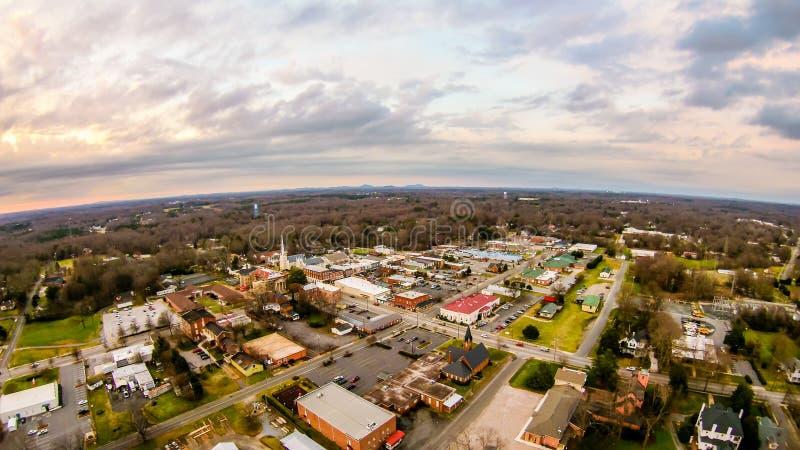 Flyg- sikt över york South Carolina på solnedgången arkivfoton