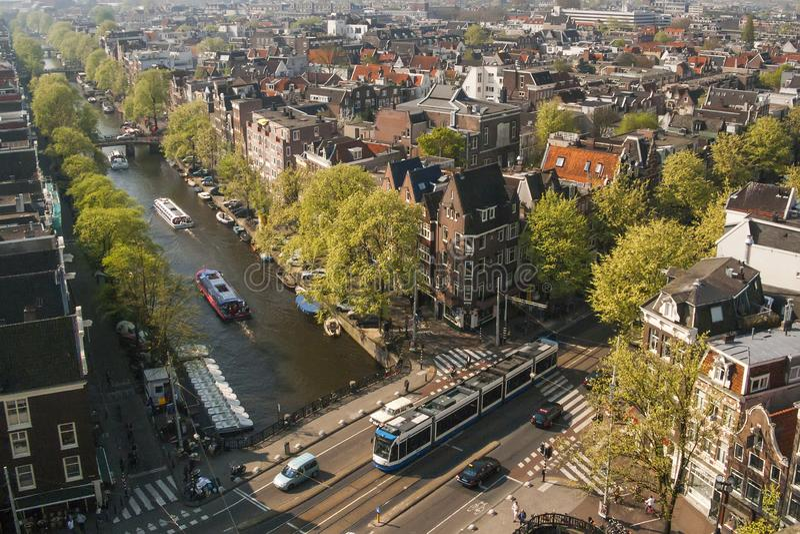 Flyg- sikt av Amsterdam royaltyfri fotografi