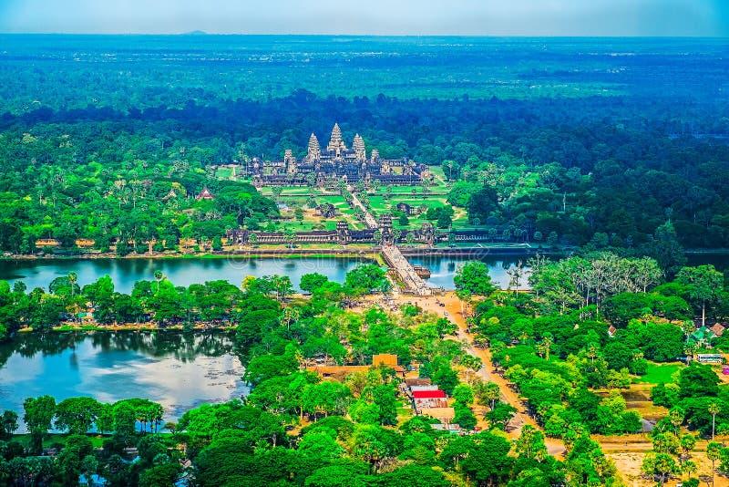 Flyg- sikt av Angkor Wat Temple royaltyfri fotografi