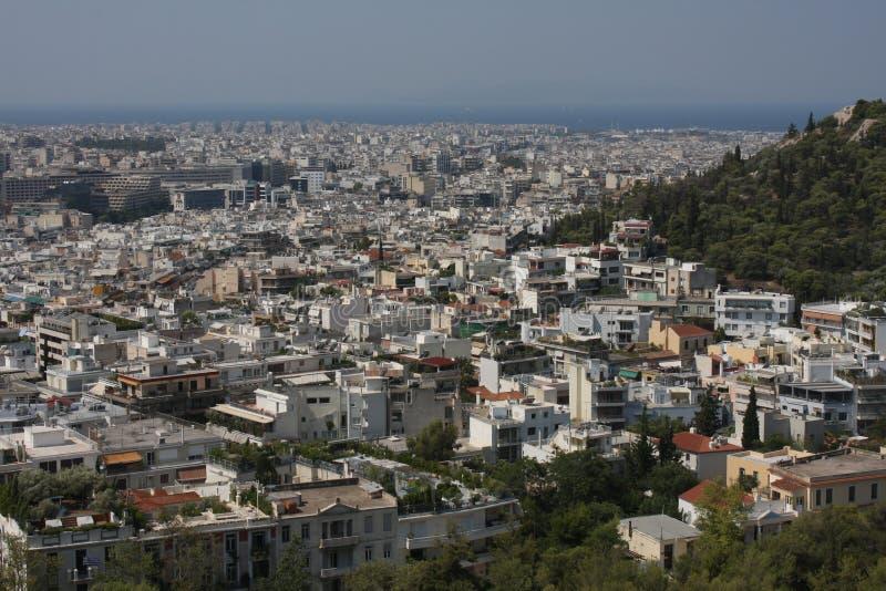 Flyg- sikt av Aten, Grekland arkivbilder