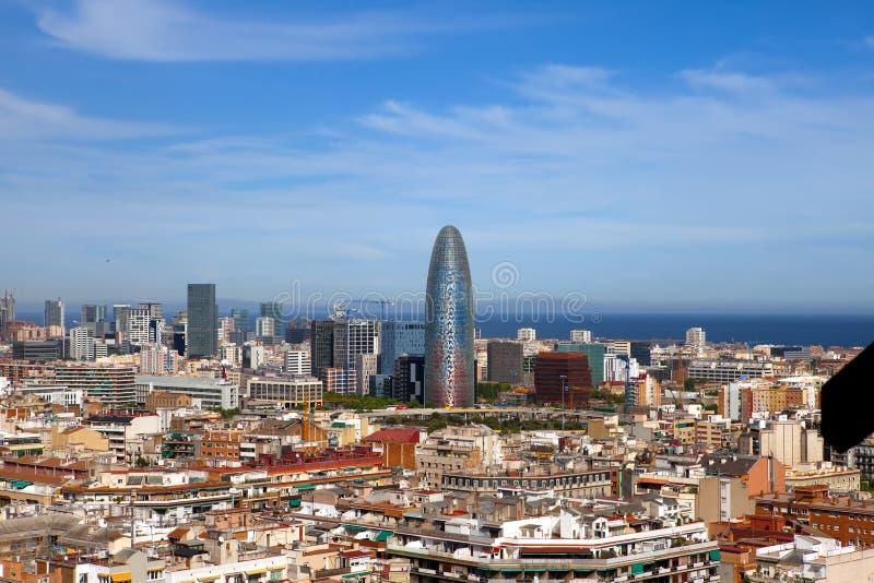 Flyg- sikt av Barcelona.Cityscape i en solig dag arkivfoton