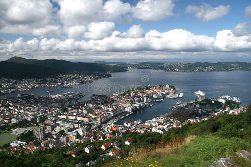 Flyg- sikt av Bergen Bryggen, Norge arkivbild