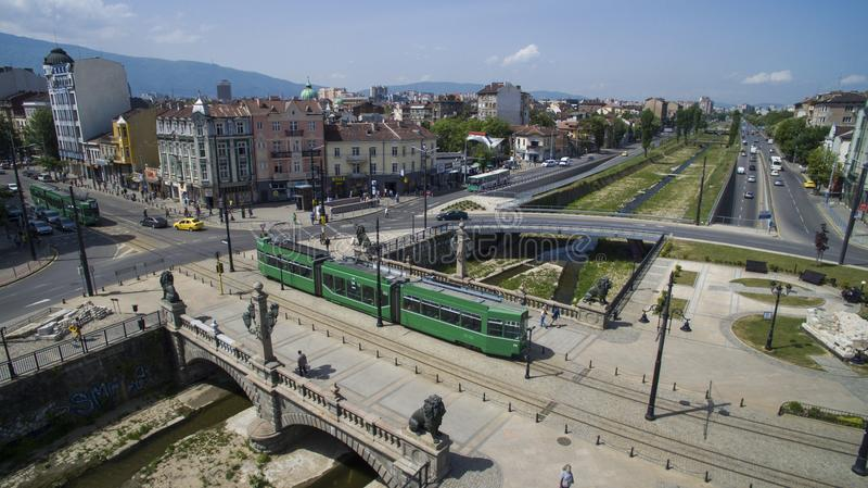 Flyg- sikt av bron för lejon` s, Sofia, Bulgarien royaltyfri bild