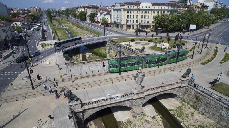 Flyg- sikt av bron för lejon` s, Sofia, Bulgarien royaltyfria foton