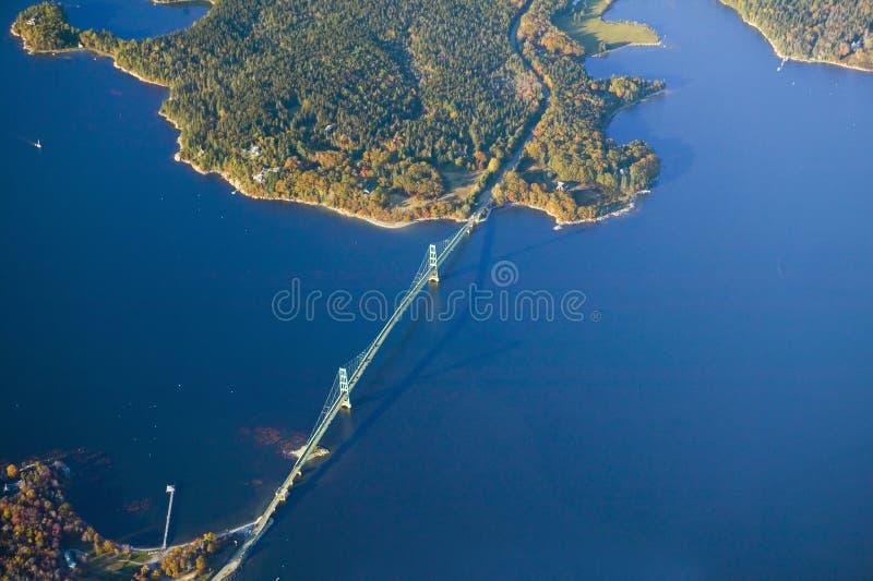 Flyg- sikt av brosöder av Acadianationalparken, Maine royaltyfria bilder