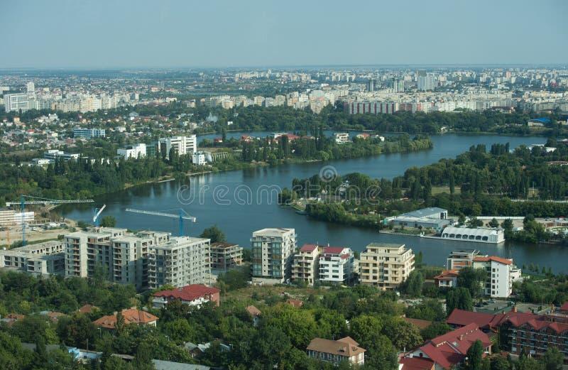 Flyg- sikt av Bucharest arkivfoto