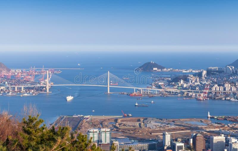 Flyg- sikt av Busan, Sydkorea arkivbilder