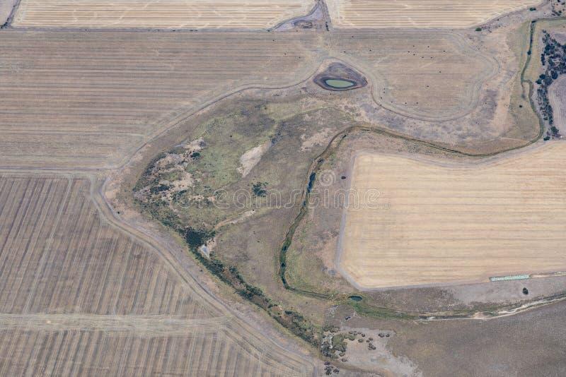 Flyg- sikt av bygd och jordbruksmarker, Victoria, Australien arkivbild