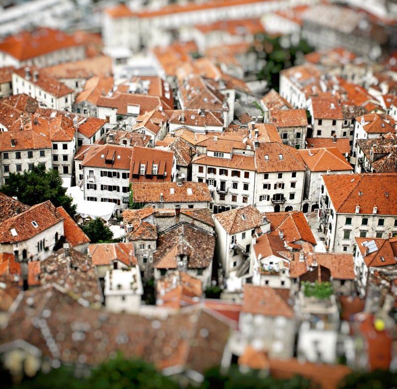 Flyg- sikt av byggnader i Kotor den gamla staden, Montenegro royaltyfria foton