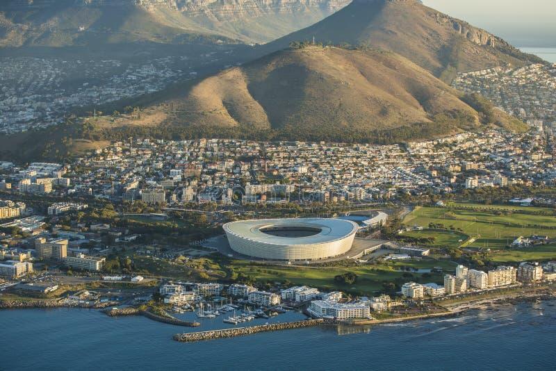 Flyg- sikt av Capetown stadion Sydafrika royaltyfri bild