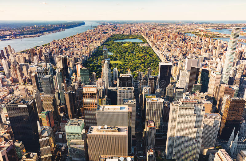 Flyg- sikt av Central Park NYC på solnedgången arkivbilder