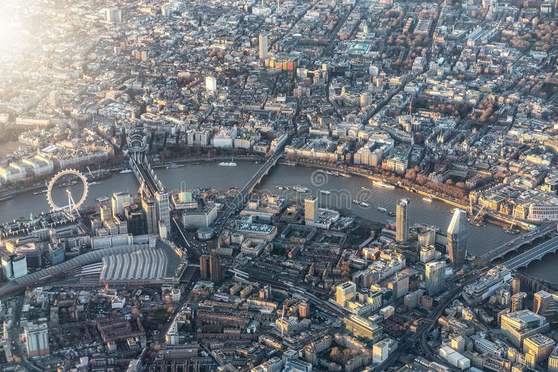Flyg- sikt av centrala London, UK arkivfoton