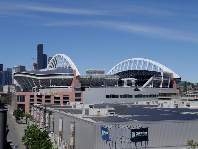 Flyg- sikt av CenturyLink i Seattle royaltyfria foton
