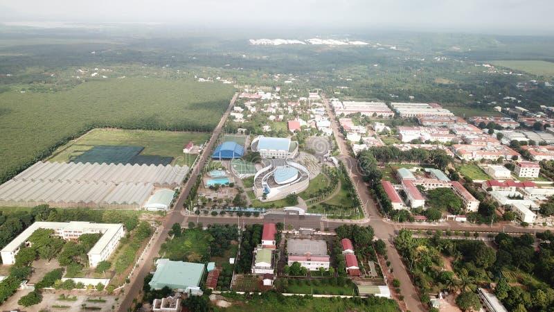 Flyg- sikt av chauducarenan - Ngai Giao stad fotografering för bildbyråer