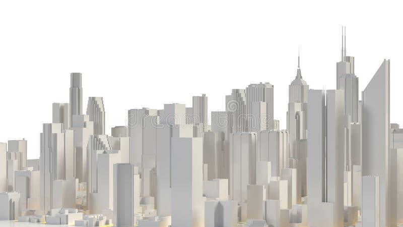 Flyg- sikt av cityscapebakgrund framförande 3d stock illustrationer