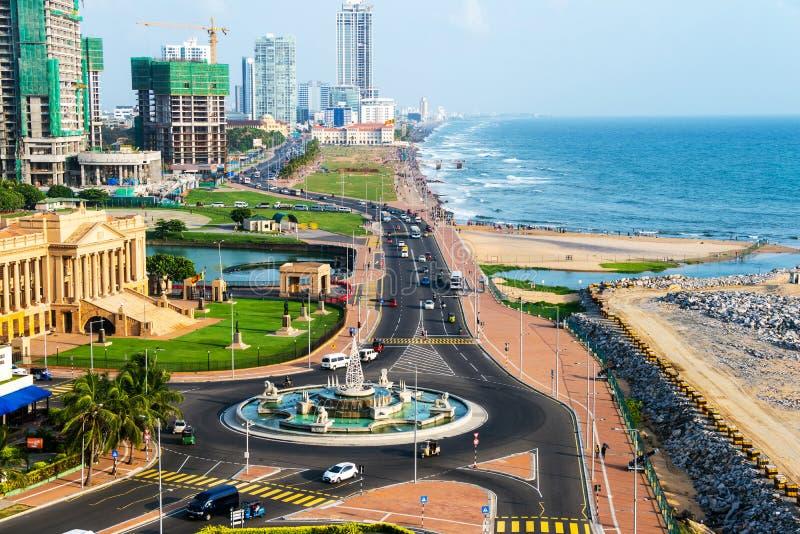 Flyg- sikt av Colombo, Sri Lanka moderna byggnader arkivbilder
