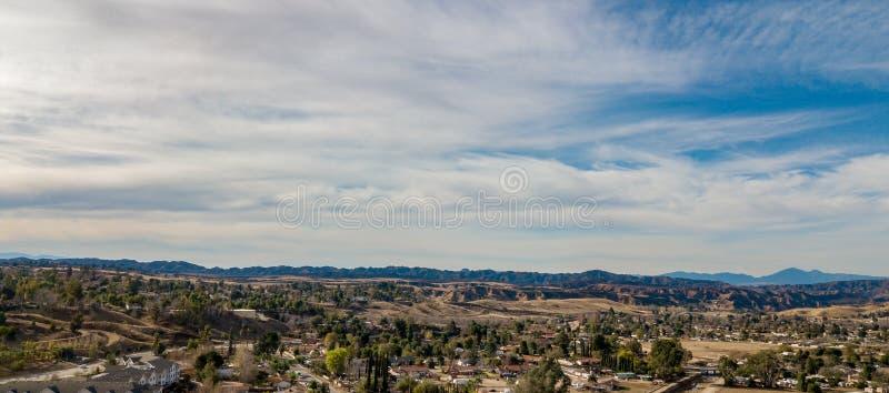 Flyg- sikt av de Yucaipa badlandsna, sydliga Kalifornien royaltyfri bild