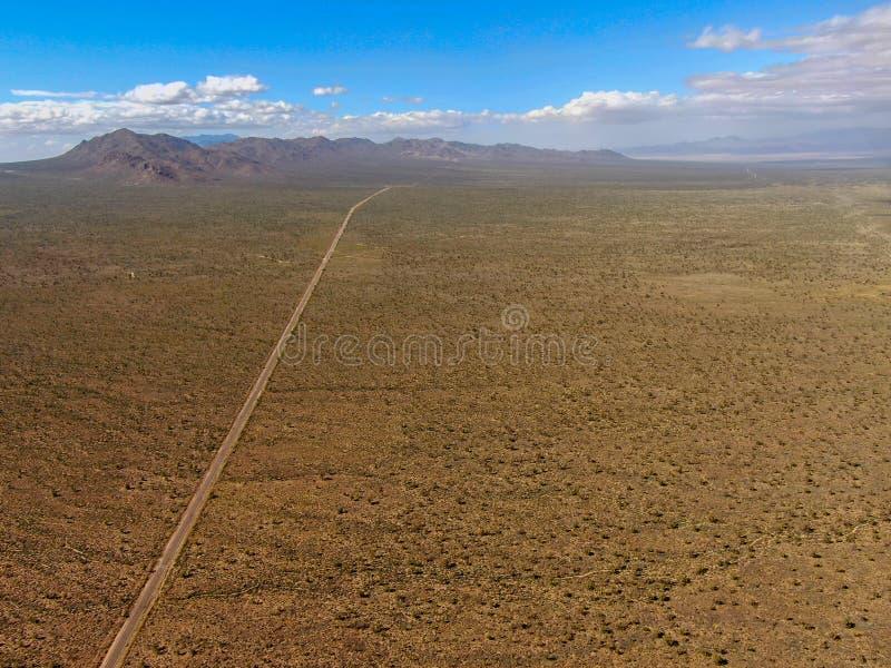 Flyg- sikt av den ändlösa raka vägen i öknen av Joshua Tree Park USA royaltyfria foton