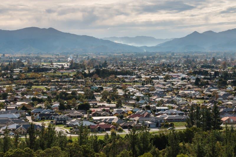 Flyg- sikt av den Blenheim staden i Nya Zeeland arkivbild