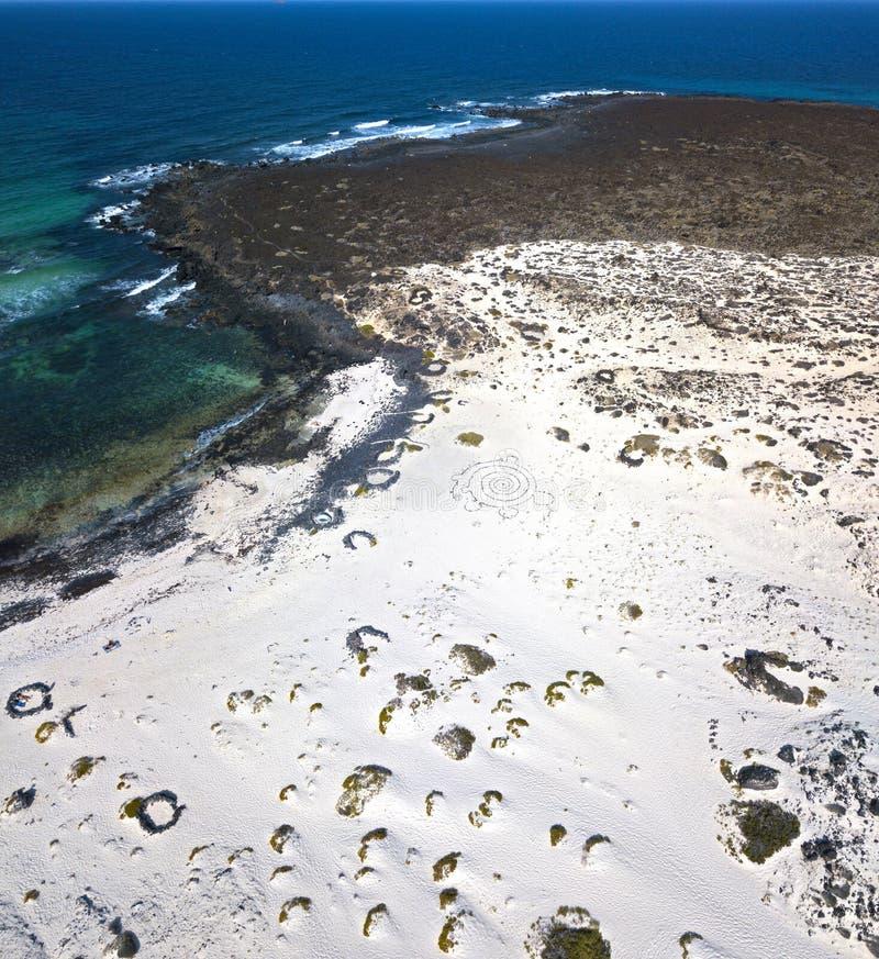 Flyg- sikt av den Caleta del Mojà ³en n Blanco, den sandiga ökenstranden och kraftfullkustlinjen lanzarote spain _ arkivbilder
