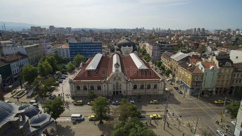 Flyg- sikt av den centrala marknaden, Sofia, Bulgarien arkivfoto