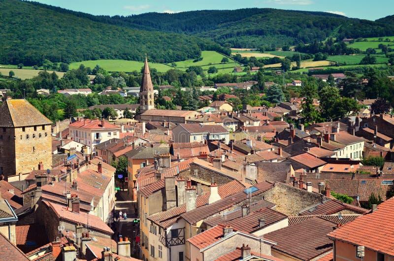 Flyg- sikt av den Cluny staden i Frankrike, Burgundy royaltyfria foton