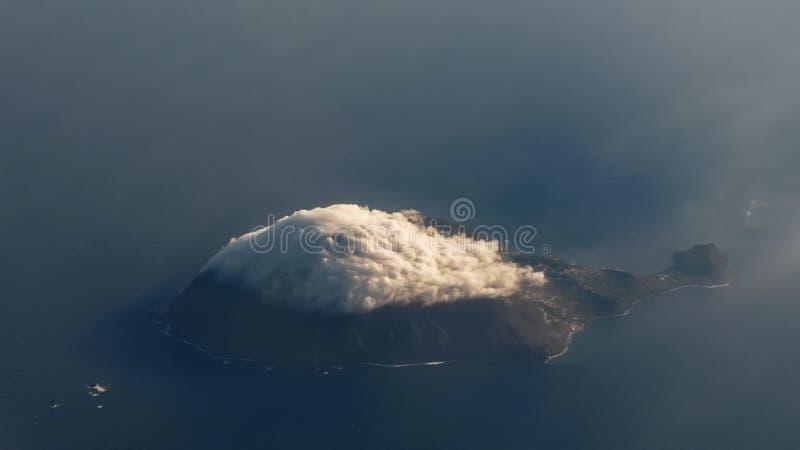 Flyg- sikt av den Filicudi ön, Eolie öar, Sicilien, Italien royaltyfria bilder