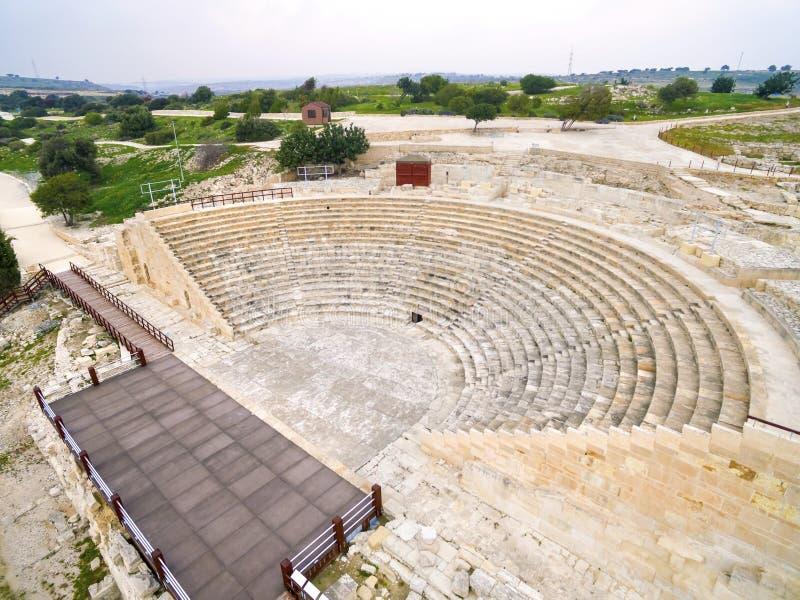 Flyg- sikt av den forntida teatern av Kourion fotografering för bildbyråer