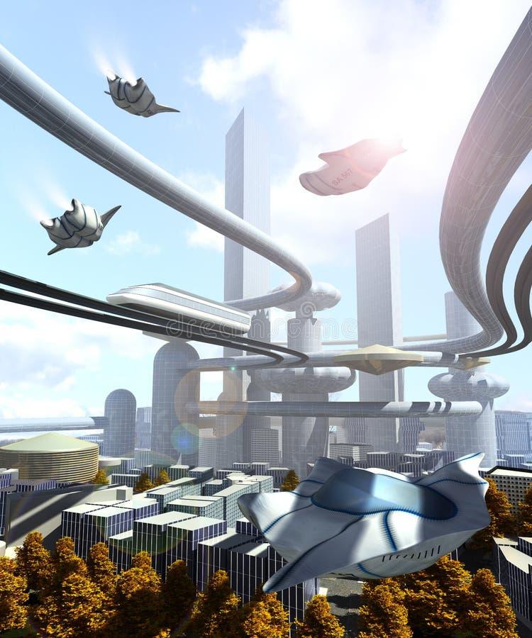 flyg- sikt av den futuristiska staden vektor illustrationer