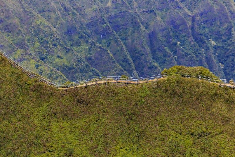 Flyg- sikt av den haikutrappa eller trappan till himmel i Honolulu mummel arkivbilder