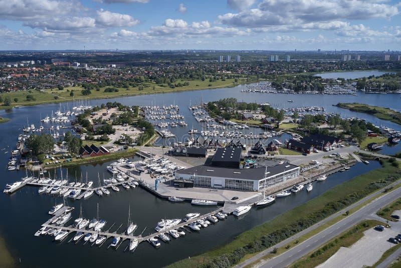 Flyg- sikt av den Ishoej hamnen, Danmark arkivbilder