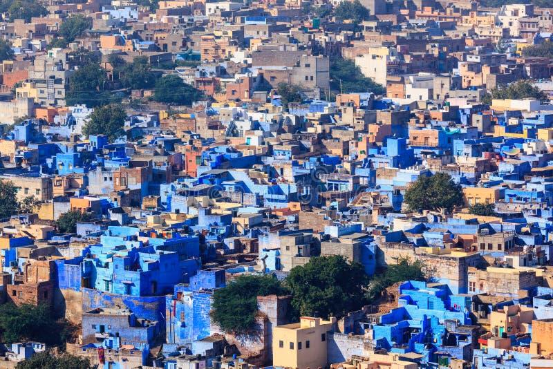 Flyg- sikt av den Jodhpur blåttstaden Jodphur Rajasthan, Indien arkivbilder