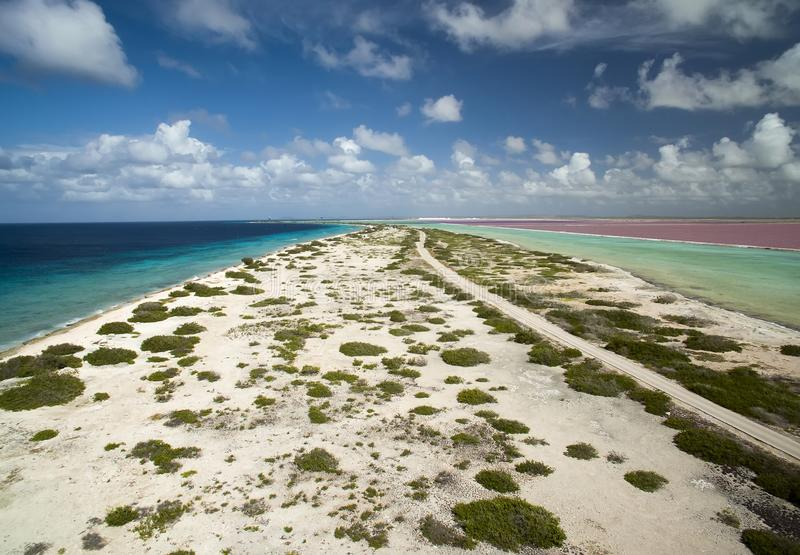 Flyg- sikt av den karibiska kusten längs ön av Bonaire fotografering för bildbyråer