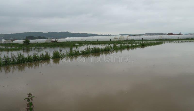 Flyg- sikt av den lantliga lantgårdöversvämningen som presenterar lantgårdhuset, på torra översvämmade fält arkivfoton