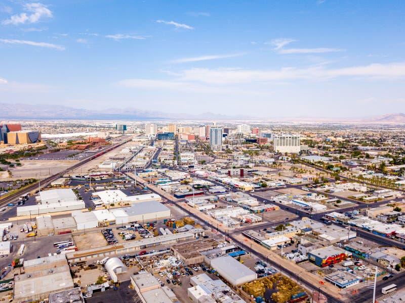 Flyg- sikt av den Las Vegas remsan i Nevada, USA arkivbild