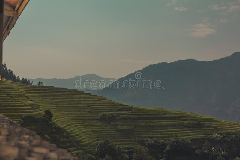 Flyg- sikt av den Longji risterrassen i det Longsheng länet, Kina royaltyfri fotografi
