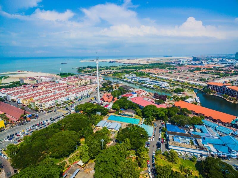 Flyg- sikt av den Melaka staden fotografering för bildbyråer