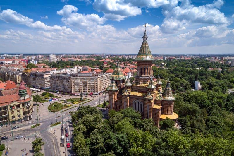 Flyg- sikt av den ortodoxa domkyrkan i Timisoara royaltyfria foton