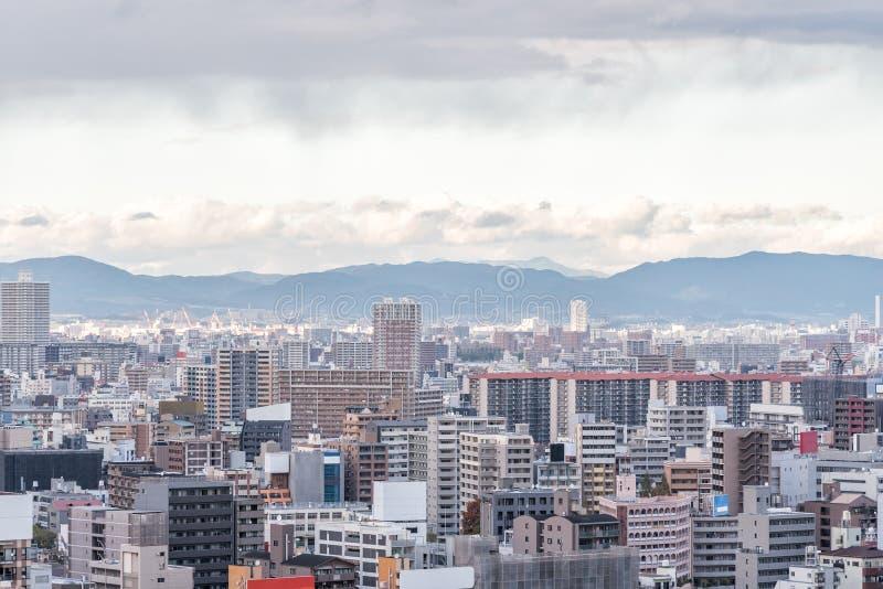 Flyg- sikt av den Osaka staden, Kansai, Japan arkivfoto