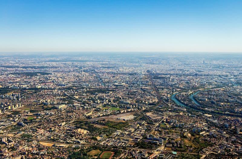 Flyg- sikt av den Paris staden royaltyfri fotografi