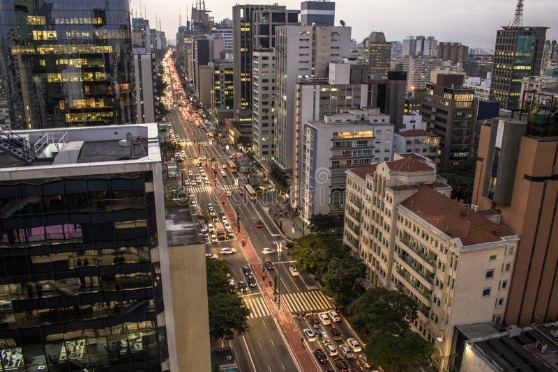 Flyg- sikt av den Paulista avenyn fotografering för bildbyråer