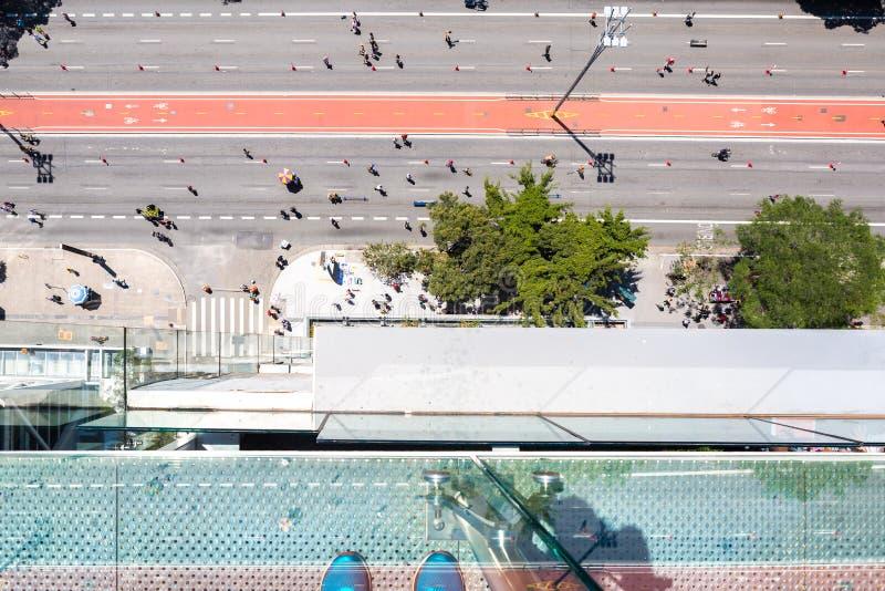 Flyg- sikt av den Paulista avenyn i Sao Paulo arkivfoto