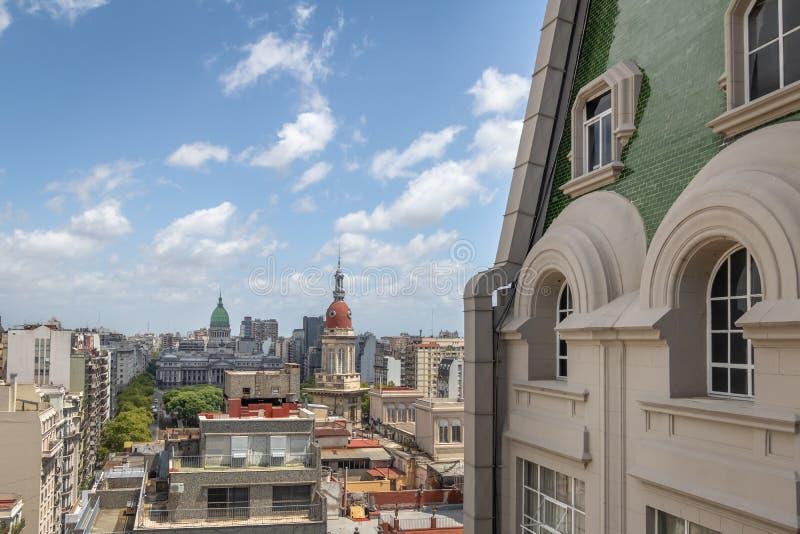Flyg- sikt av den PlazaCongreso Barolo slotten - Buenos Aires, Argentina arkivfoton