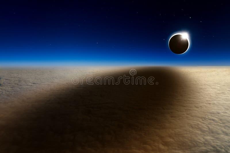 Flyg- sikt av den sammanlagda sol- förmörkelsen royaltyfri bild