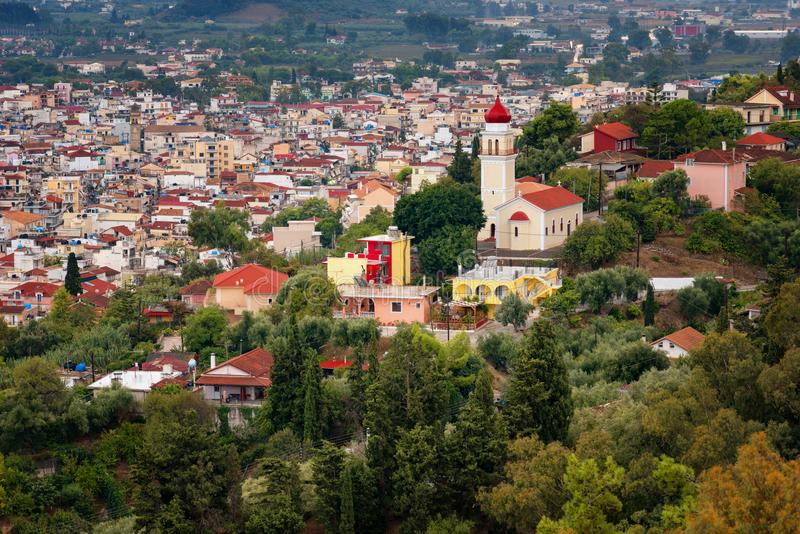 Flyg- sikt av den Zakynthos Zante staden, Grekland Sommarmorgon på det Ionian havet Härlig cityscapepanorama av den Grekland stad royaltyfri fotografi