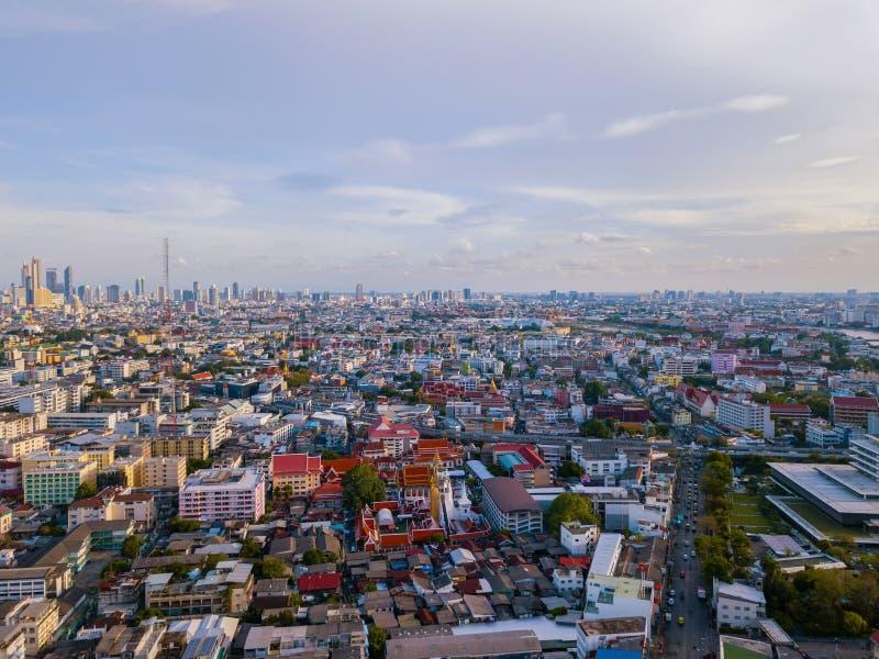 Flyg- sikt av det Bangkok centret, Thailand Finansiell omr?des- och aff?rsmitt i smart stads- stad i Asien Skyskrapa och fotografering för bildbyråer