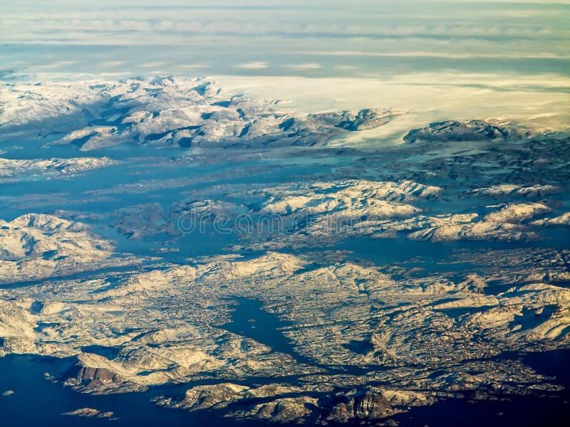 Flyg- sikt av det Grönland isarket arkivfoto
