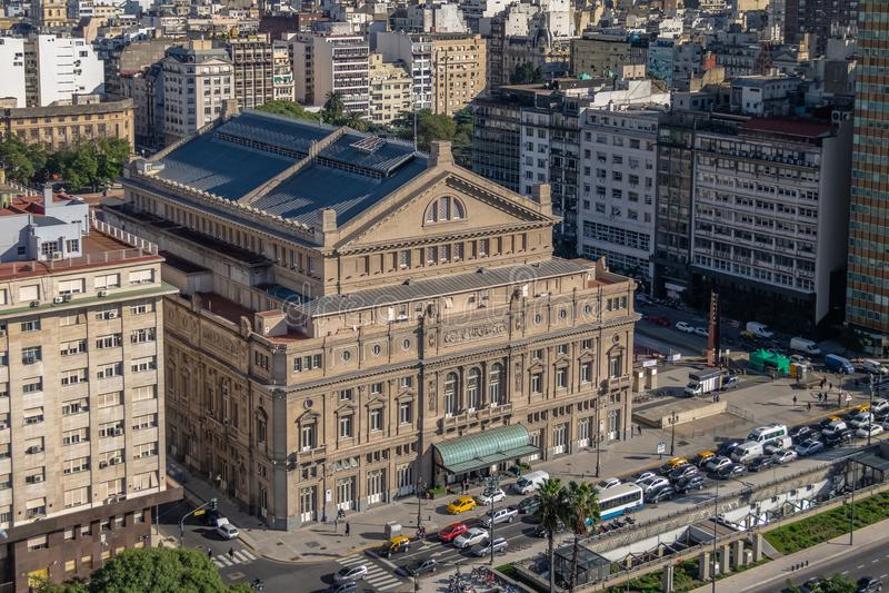 Flyg- sikt av det Teatro kolonet - Buenos Aires, Argentina royaltyfria bilder