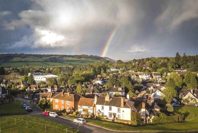 Flyg- sikt av Dorking, Surrey, UK fotografering för bildbyråer