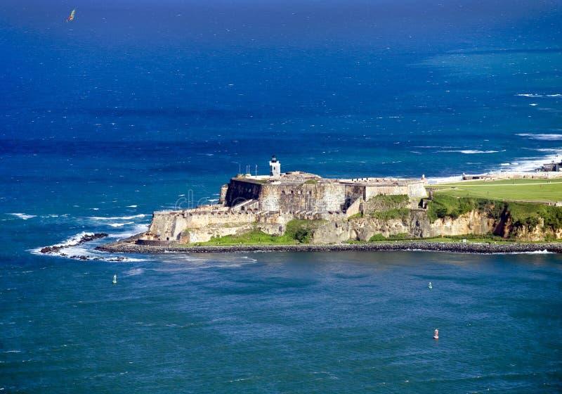 Flyg- sikt av El Morro Puerto Rico arkivfoton